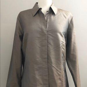 CHICO'S Women's Sleek Shantung L/S Weldon Top
